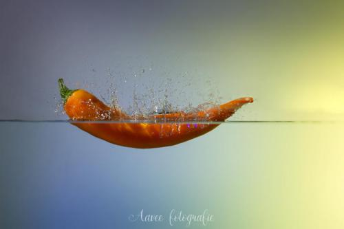 Splash orange pepper